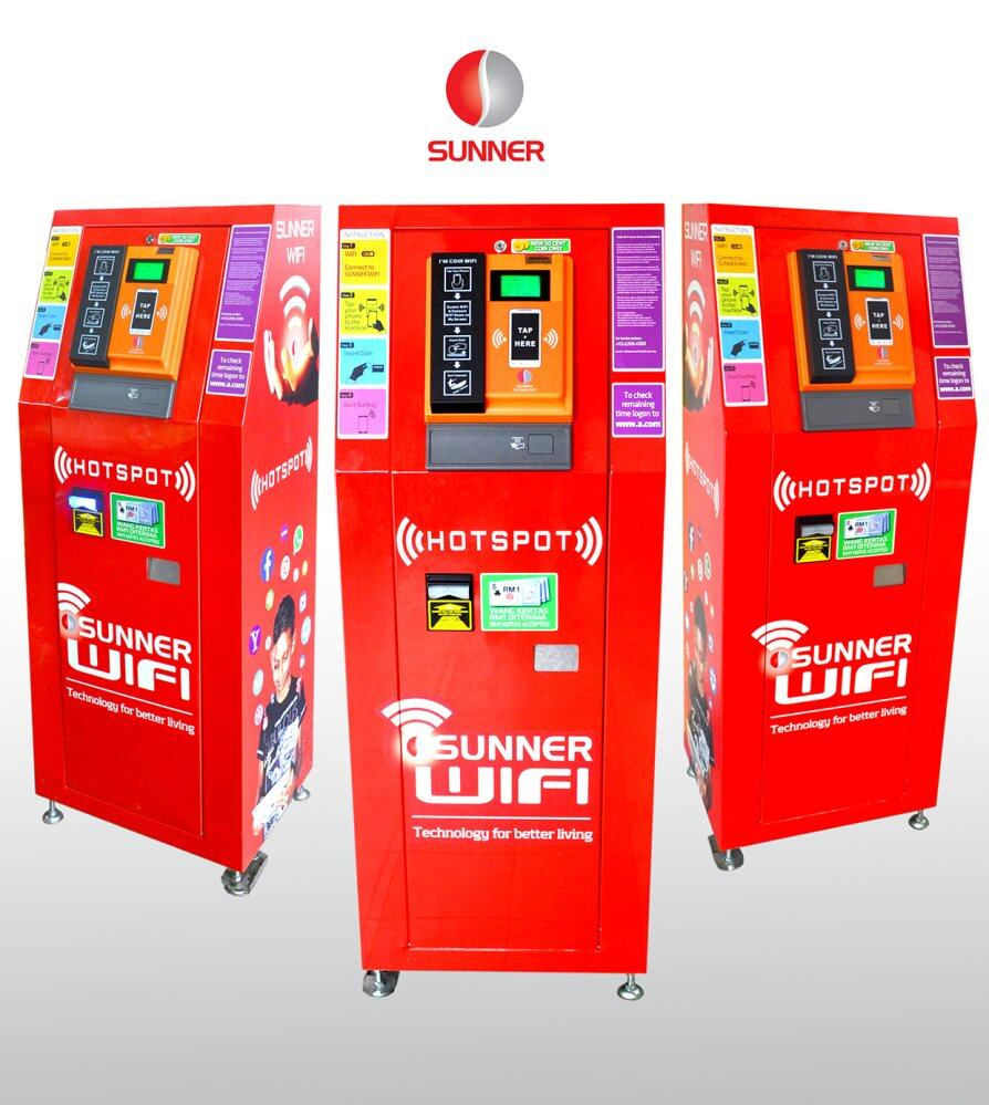 Sunner WiFi Kiosk - Tap Coin Wi-Fi Vending Machine