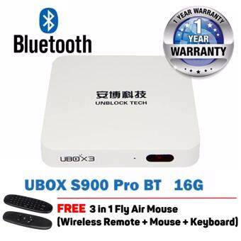 Unblock Tech Gen 3 S900 Pro BT (Bluetooth Version) 4K 16GB Android 5.1 TV Box Oversea Version - FREE 3 in 1 Fly Mouse + FREE For Life Channels