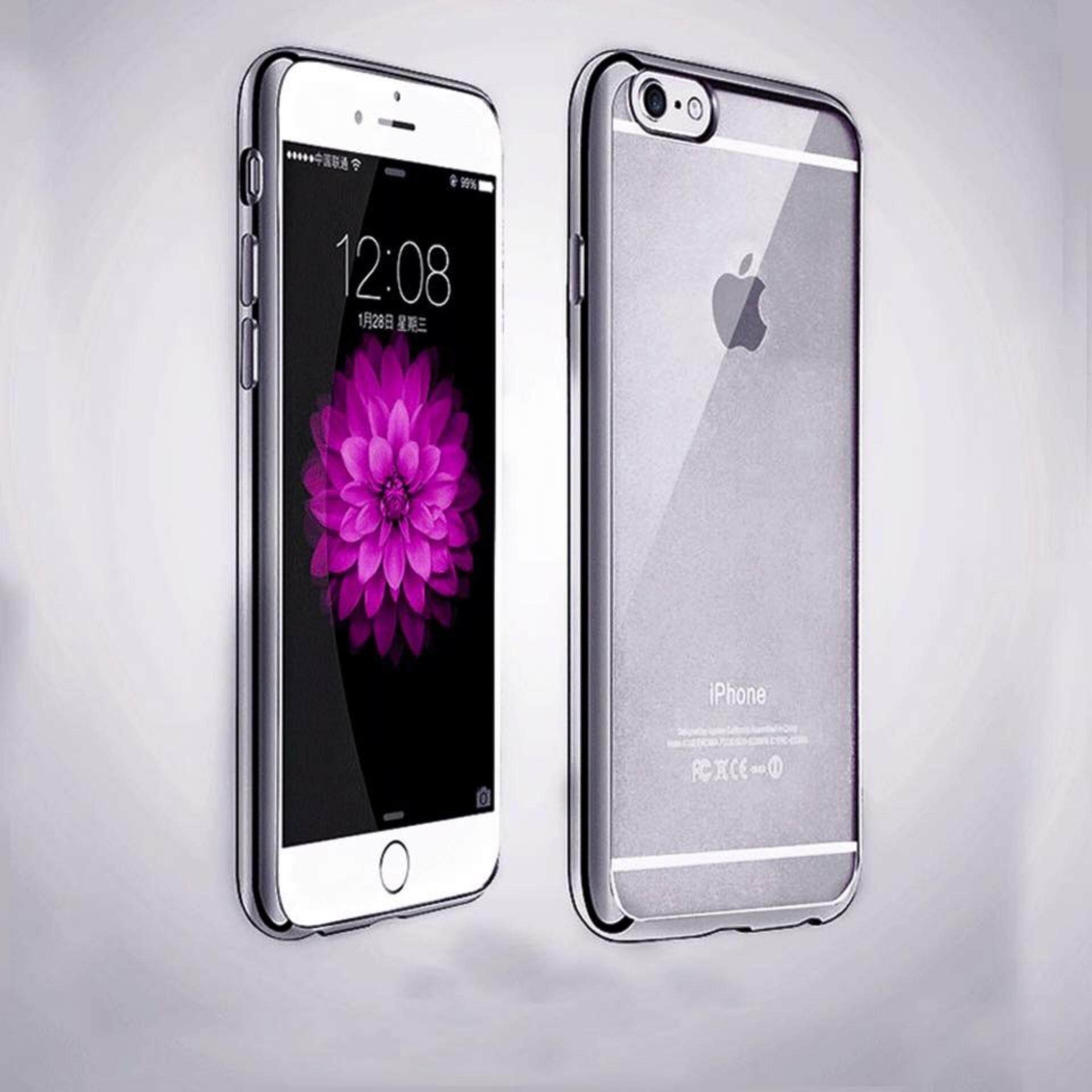 ViLi Apple iPhone 6 6s TPU Silicone Ultrathin Luxury Slim Electroplating Crystal Clear Transparent Soft Back Cover Case Covers (Dark Grey) FREE 2 Screen Protector
