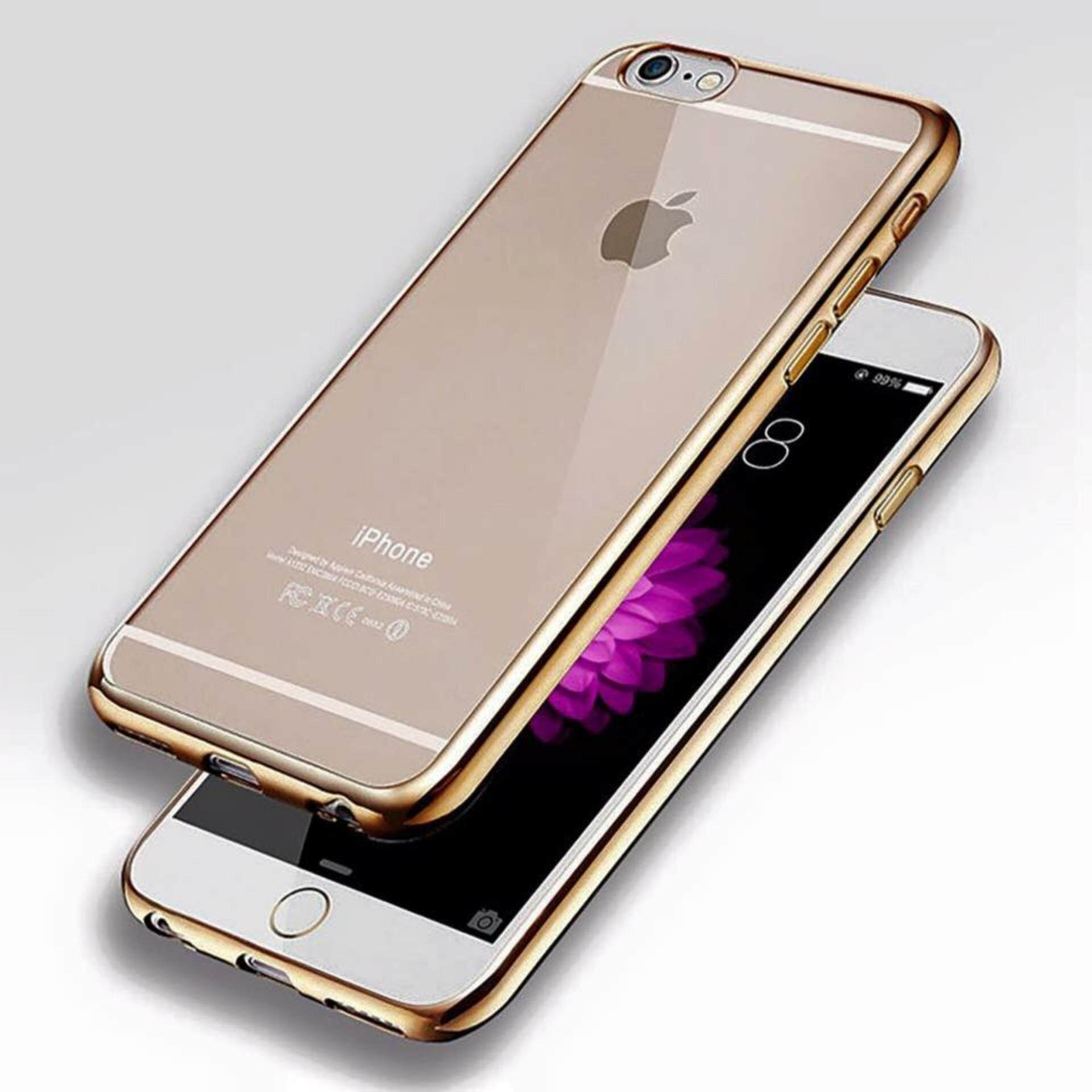 ViLi Apple iPhone 6 6s TPU Silicone Ultrathin Luxury Slim Electroplating Crystal Clear Transparent Soft Back Cover Case Covers (Luxury Gold) FREE 2 Screen Protector