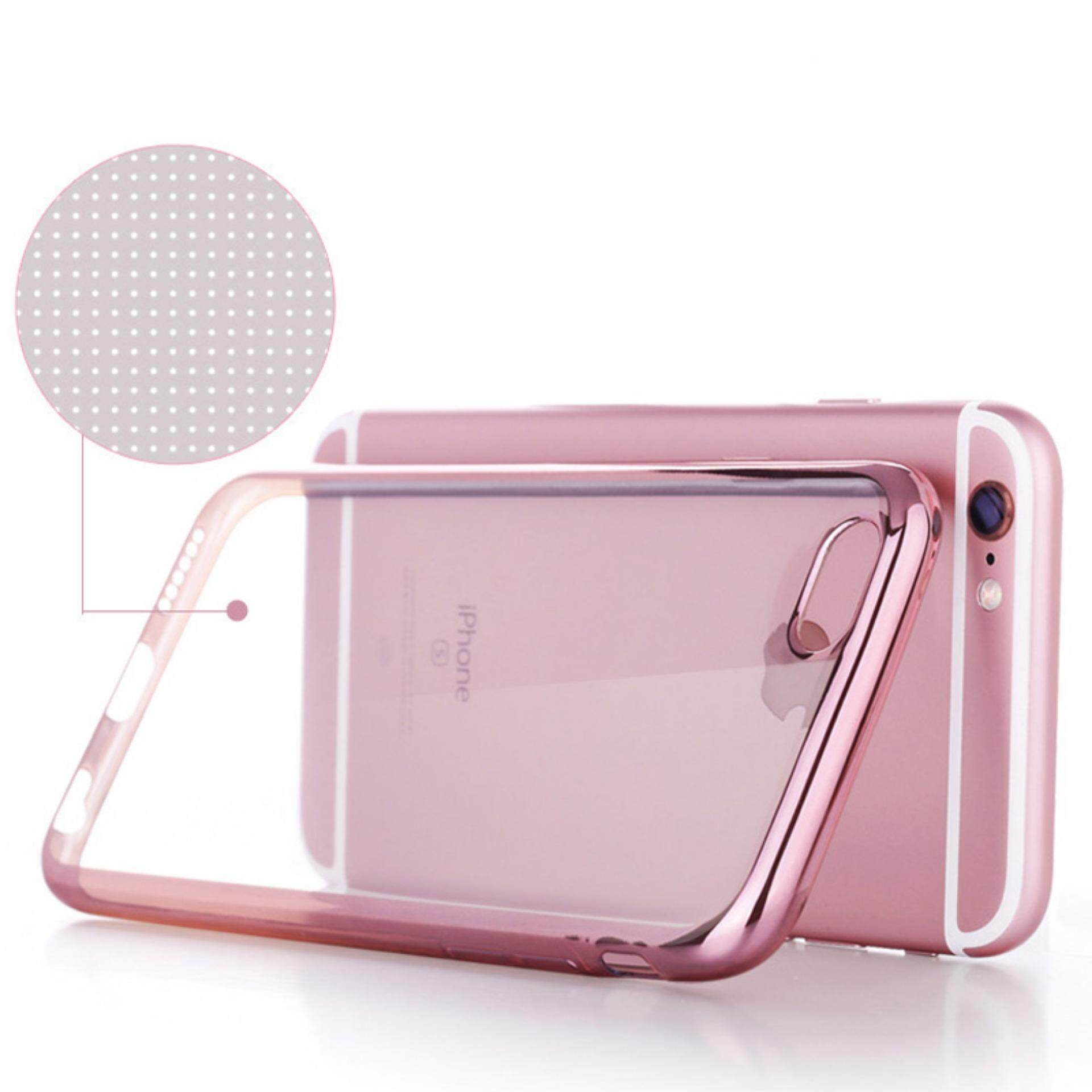 ViLi Apple iPhone 6 6s TPU Silicone Ultrathin Luxury Slim Electroplating Crystal Clear Transparent Soft Back Cover Case Covers (Pink Rose Gold) FREE 2 Screen Protector