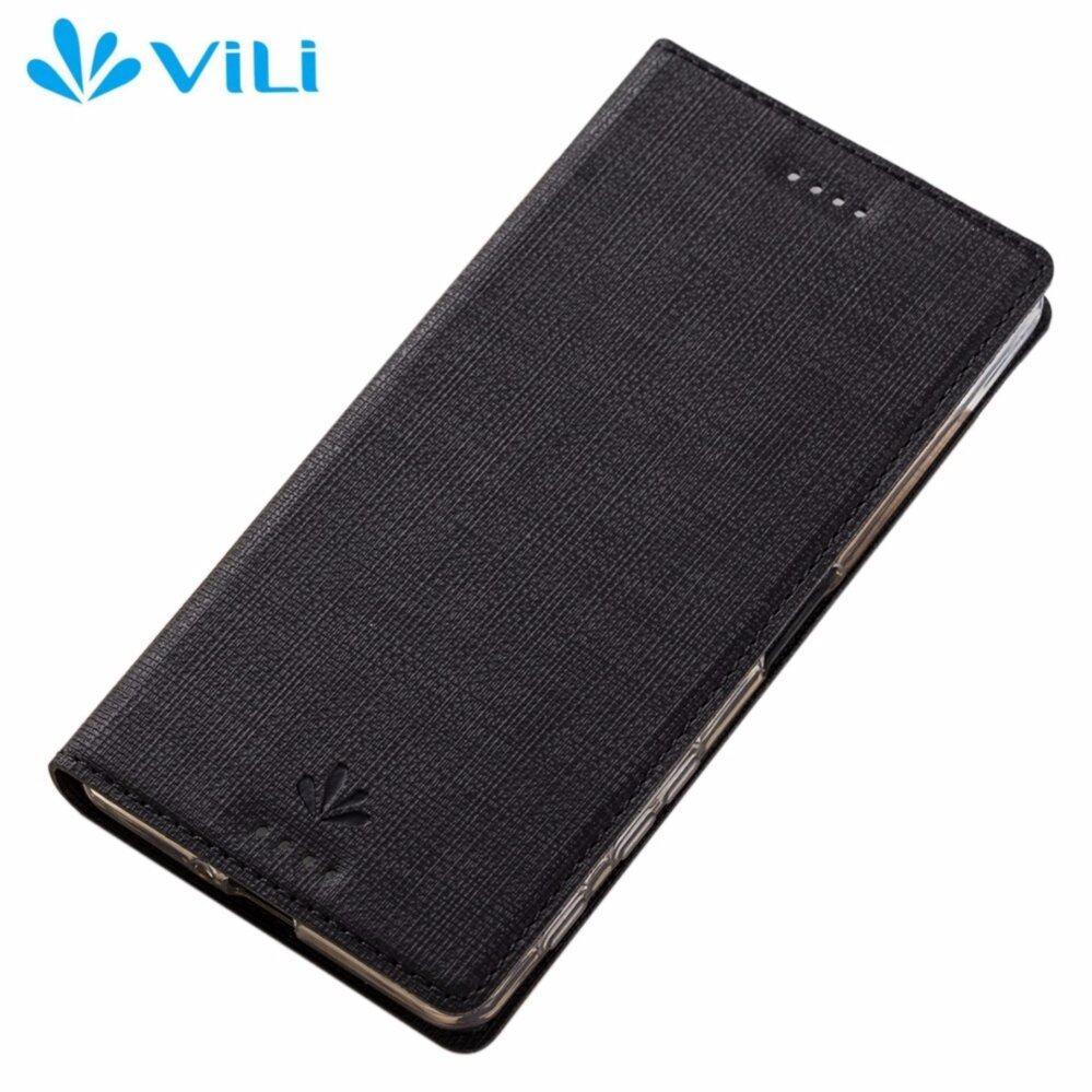 Vili Canvas Smart Wake Sleep Cover Flip Case For Sony Xperia XZ / XZs (Black)