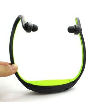 Whyus store 2pc Wireless Headphone Earphone Earpiece Sport MP3 Music Player Jogging Running FM Radio Green
