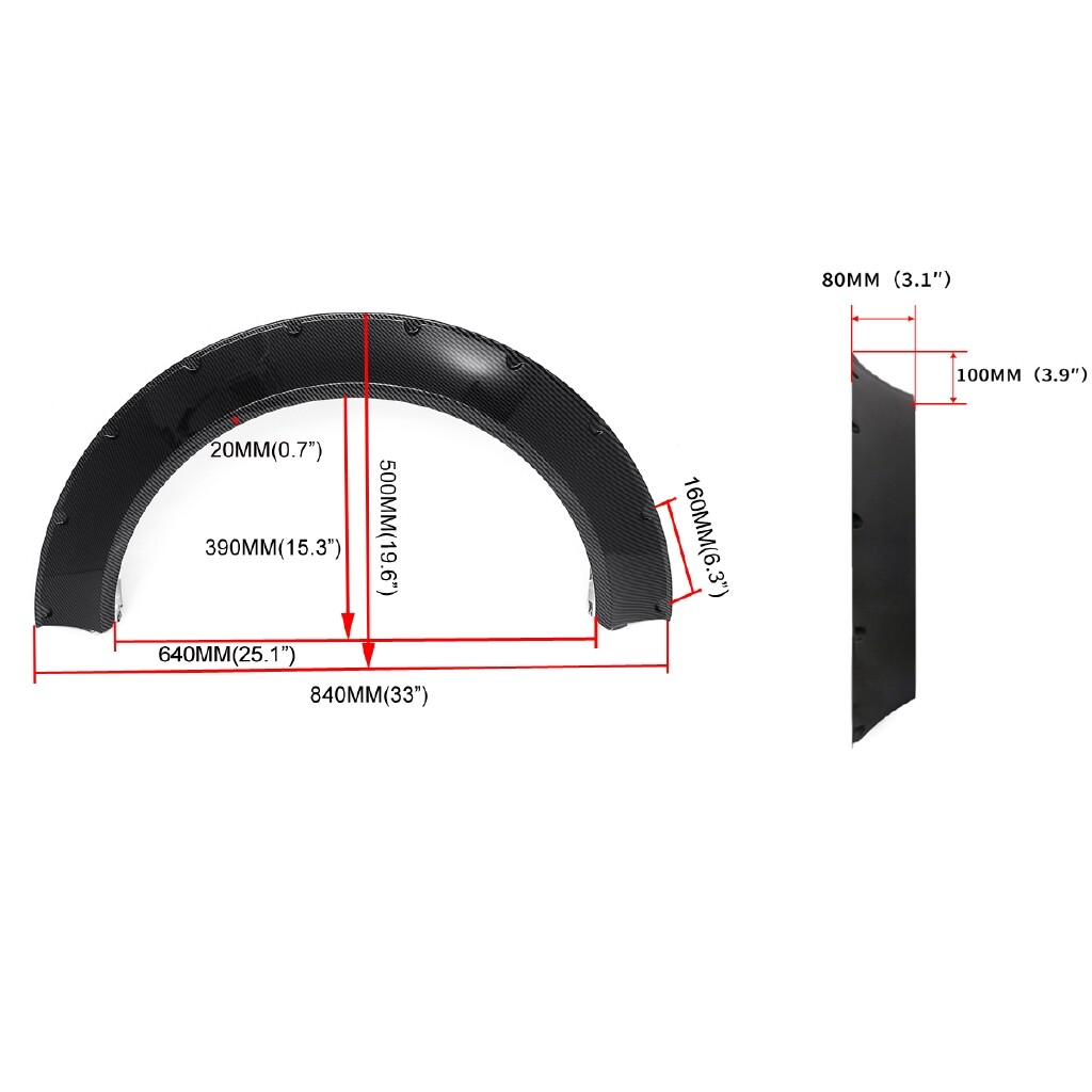 Automotive Tools & Equipment - Carbon Look Fender Flares Extra Wide Body Wheel Arches For Honda Civic Hatchback - Car Replacement Parts