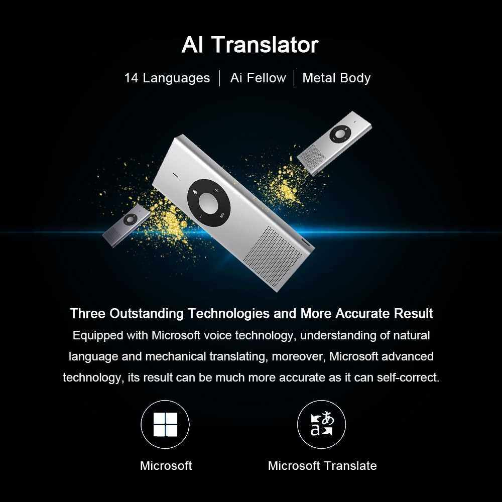 Original Xiaomi Portable Mini Handheld AI Translator Stick Intelligent Language Translator Device Electronic Pocket Voice 14 Languages Microsoft Translation Engine for Learning Travel Shopping Business (Silver)