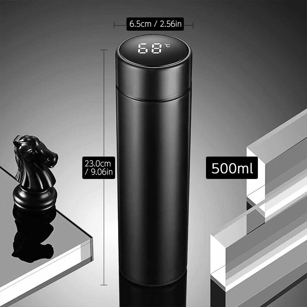 Best Selling 500ml Intelligent Vacuum Insulated Bottle Temperature Display LCD Touch Screen Stainless Steel Vacuum Bottle Travel Mug (White)