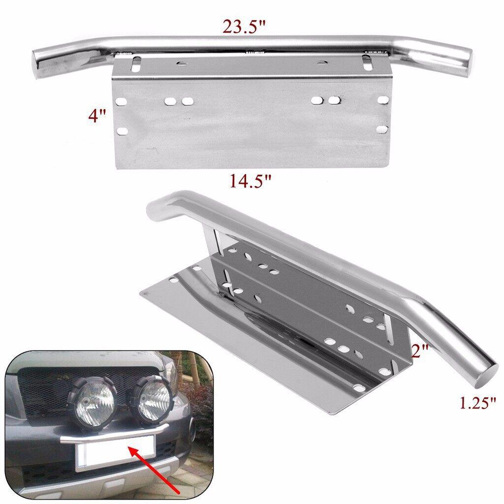 Car Lights - 23'' Car Bull Bar Front Bumper License Plate Mount Bracket Holder Working Li - Replacement Parts