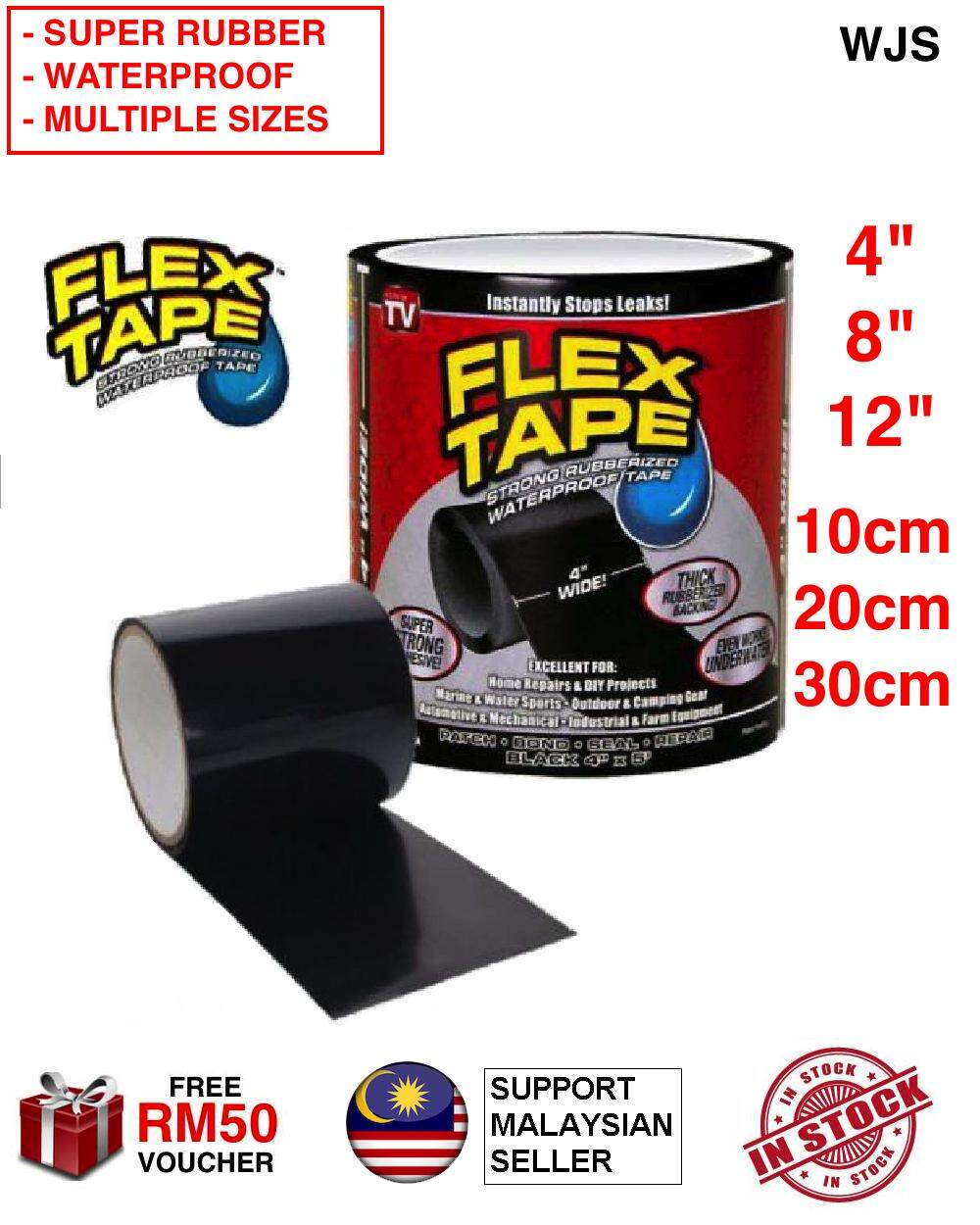 (SUPER STRONG WATERPROOF RUBBER) WJS 2 pc 2 pcs Jumbo Waterproof Sealing Flex Tape Patch Bond Super Strong Rubberized Rubberised Waterproof Seal Repair Cell Tape OPP Tape Rubber Tape PVC Tape Fix Hole Fix Leaking BLACK MULTIPLE SIZES [FREE RM 50 VOUCHER]