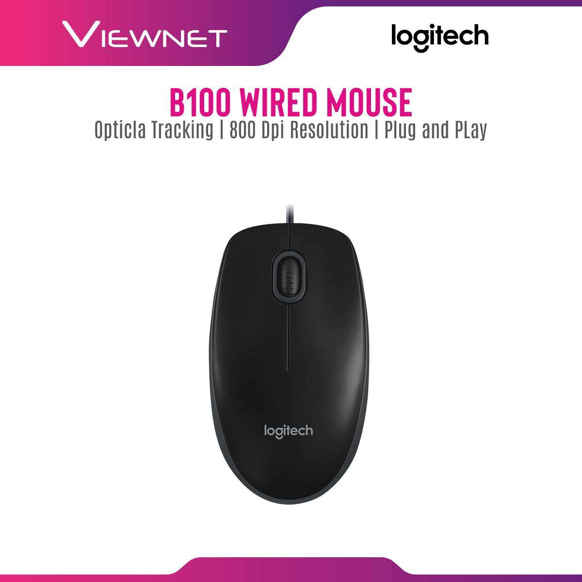 Logitech B100 Mouse with USB Connection, Optical Tracking, 800 Dpi Resolution