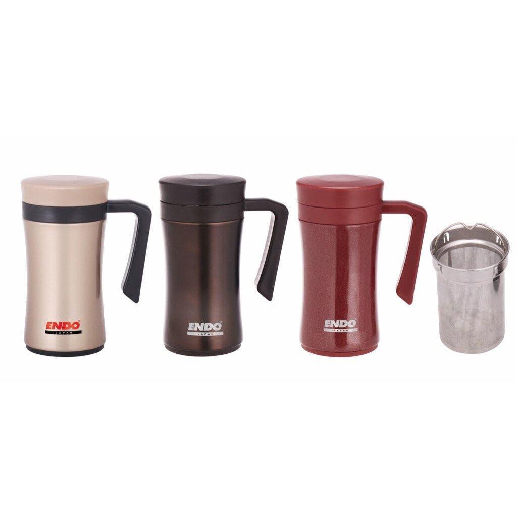 [My Cooking Story / MyCookingStory] 450ml Desk Mug + Tea Strainer (Urban Brown)