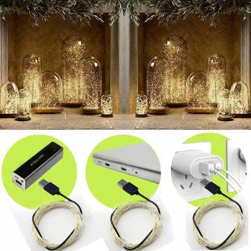 5 / 10 Meters 50 / 100 Led USB Copper/Silver Christmas Decoration Fairy Lights - Warm White (Starzdeals.my)