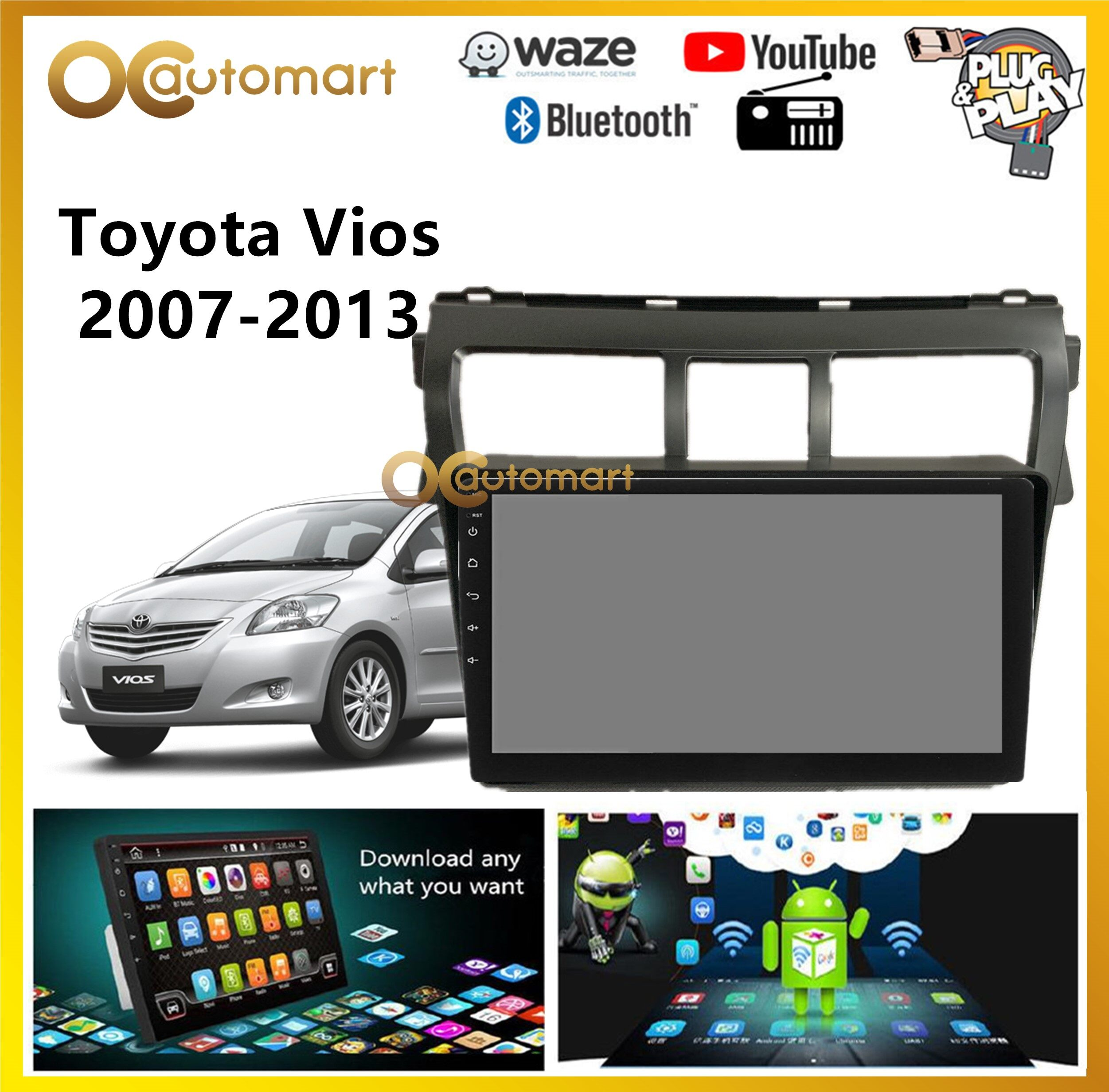 Toyota Vios 2007-2013 Big Screen 9  Black Colour Plug and Play OEM Android Player Car Stereo With WIFI Video Player/TouchScreen