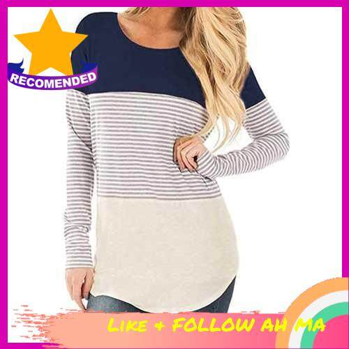 Best Selling New Women Autumn Long Striped T-shirt Contrast Color Splicing Curved Hem O Neck Long Sleeve Pullover Tops (Dbl)