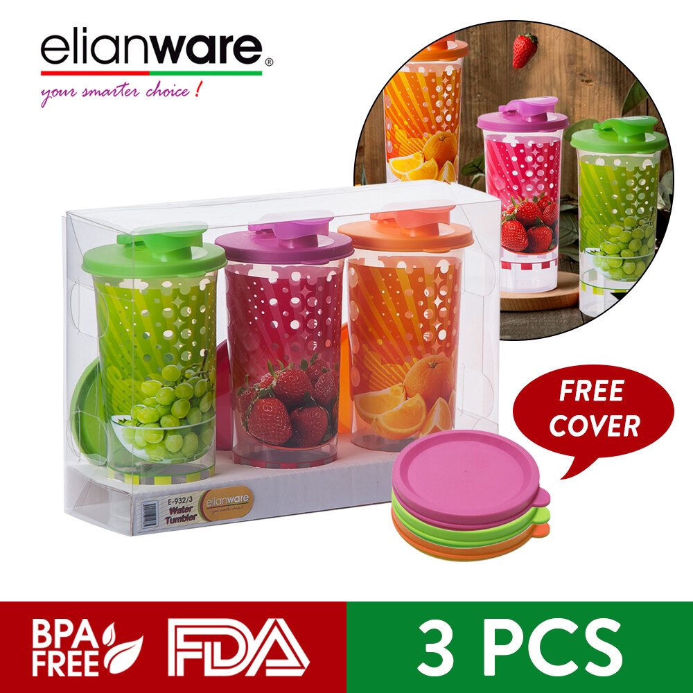 Elianware BPA FREE Water Tumbler Shaker with Gift Box FREE Cover (550ml x 3Pcs)