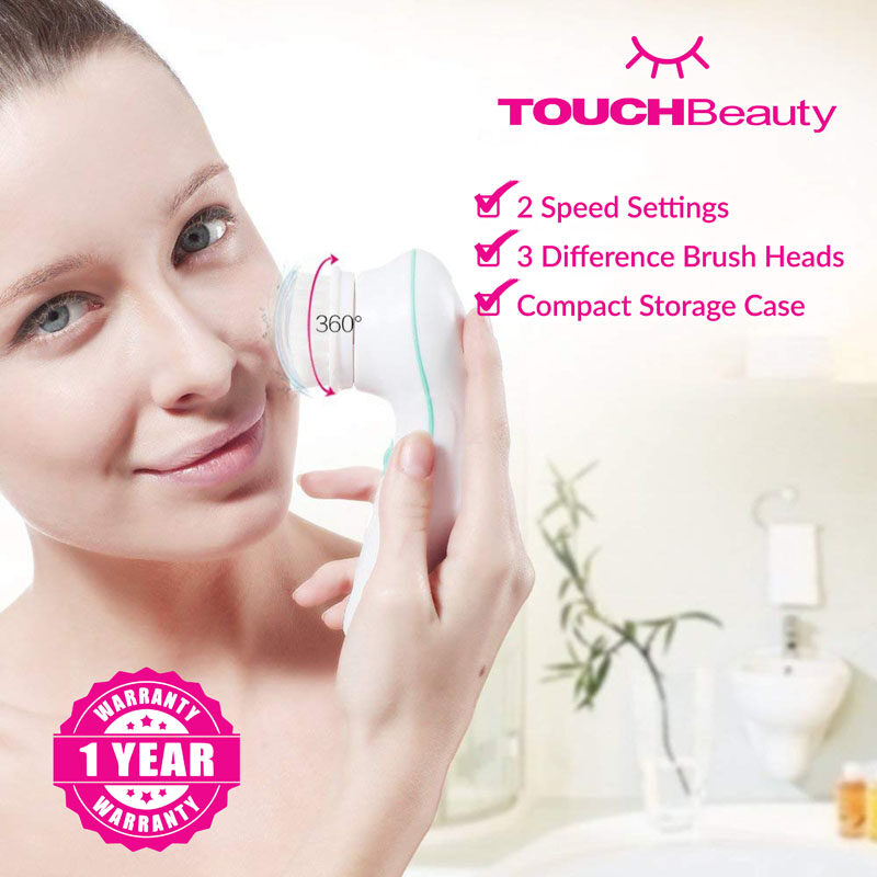 TOUCHBeauty Electric Facial Cleanser TB-0759A 3 in 1 Electric Massager/Waterproof Deep Pores Cleaning/ Facial Cleansing Brush Exfoliator Scrubber Skin Care Wash Machine/the exfoliating head is perfect for eliminating dry, flaky & dead skin