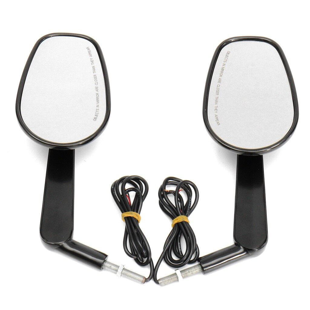 Car Lights - 2x Black Rear Mirrors Turn Signals For Harley Davidson V-ROD Muscle VRSCF 09-17 - Replacement Parts