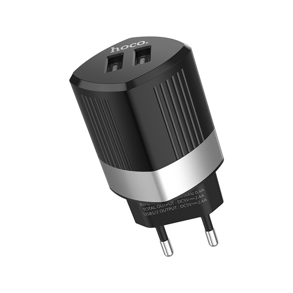Chargers - Hoco 2.4A Dual USB Port Fast Charging Charger EU Plug Adapter For iPh X XS - WHITE / BLACK