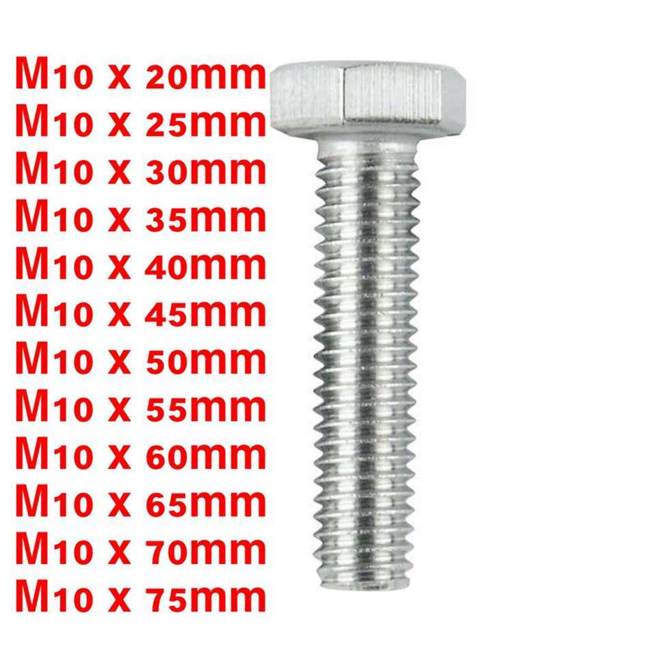 Hex Bolt ( M10 x 20MM - M10 x 75MM ) 1Packing = 20Pcs (Stainless Steel)