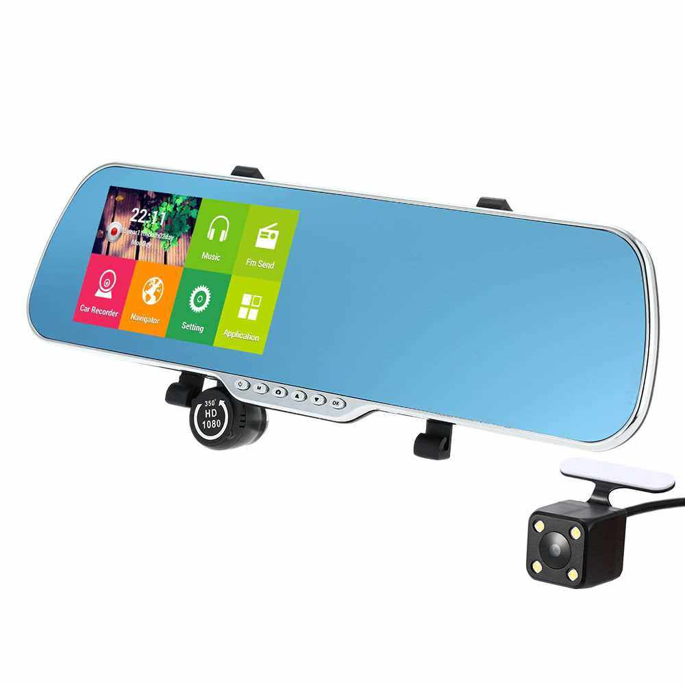"Best Selling 5"" Android 4.4 Smart GPS Navigation Car Rearview Mirror DVR With Rearview Camera (Black Red)"