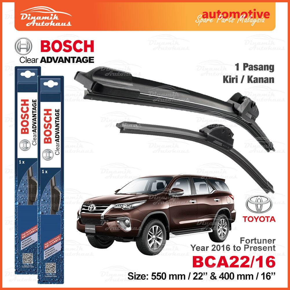 "Toyota Fortuner Year 2016 To Present Car Front Windshield Soft Wiper Blade 22"" & 16"" - Bosch Clear Advantage Wiper BCA2216"