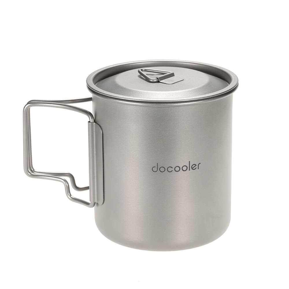 Docooler 420ml Titanium Water Cup Picnic Camping Mug with Lid (silver)