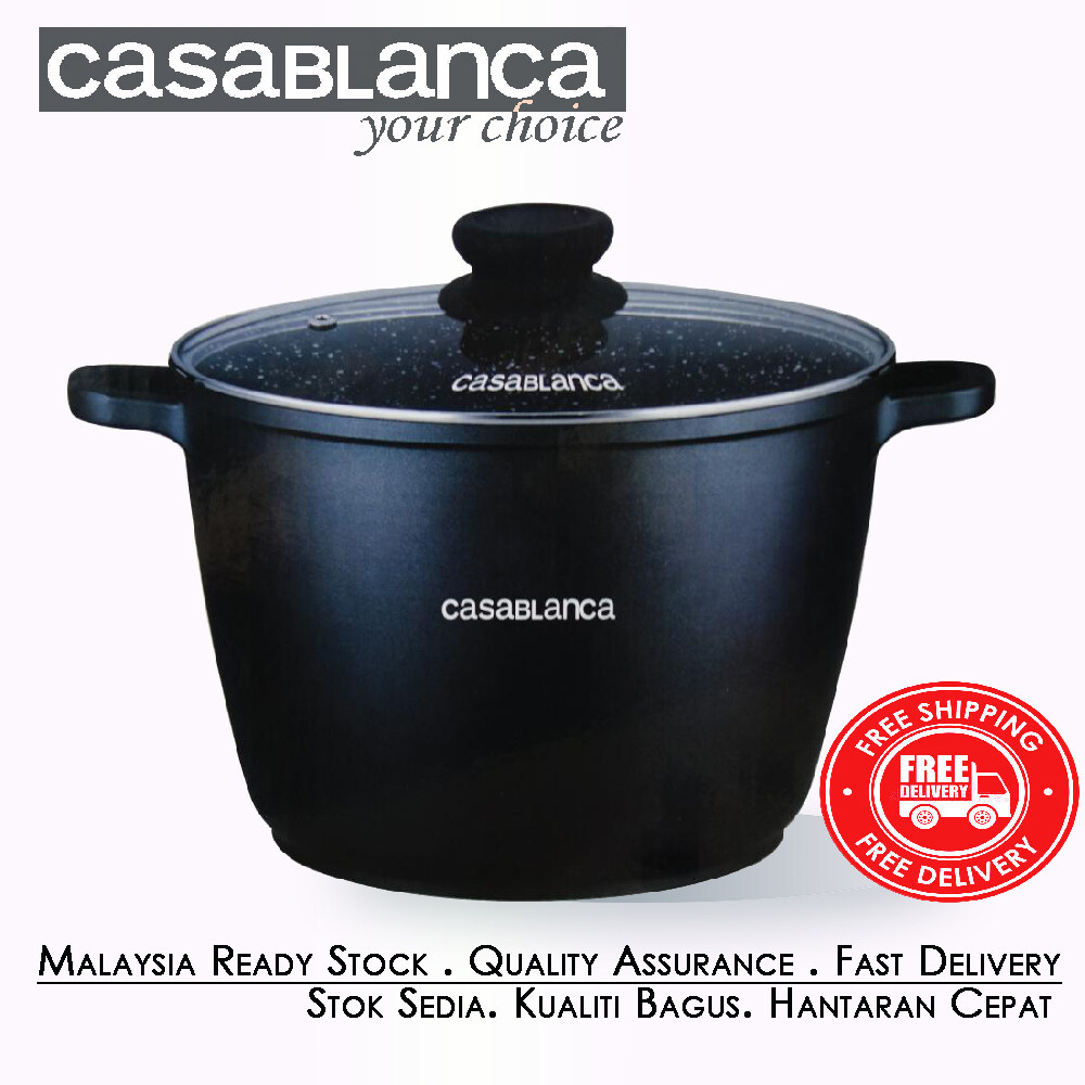 [Ready Stock]Casablanca 5 Layer Aluminium Pot Cast Non Stick Marble Coated Cooking Pot [Fast Delivery]
