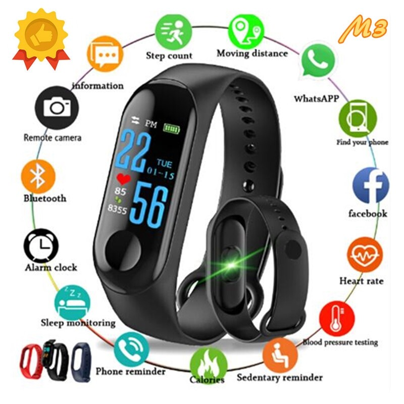 M3 Smart Watch Heart Rate Monitor Fitness Tracker Smartwatch Color Screen Blood Pressure Pedomater - RED / BLUE / BLACK