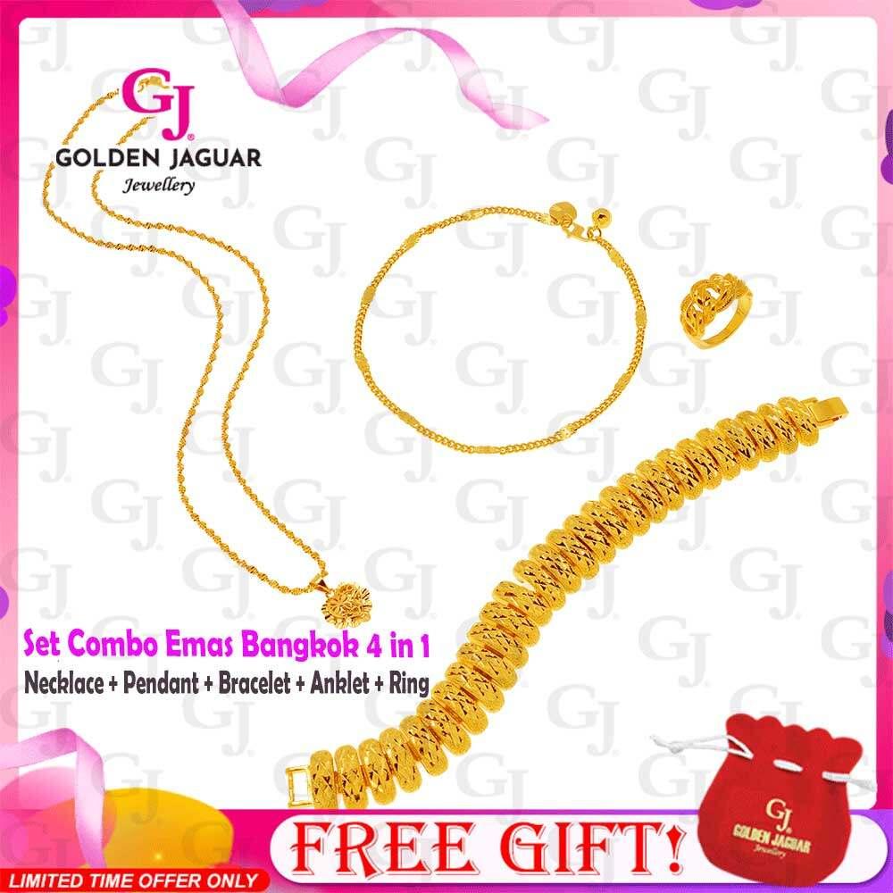 GJ Jewellery Emas Korea 24k Bracelet Combo Set Caterpillar - Bracelet Necklace Pendants Anklet Premium Set