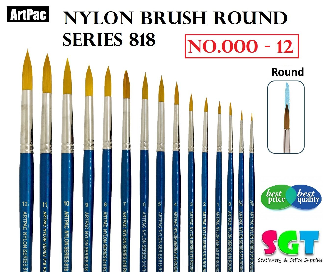 ARTPAC NYLON BRUSH ROUND SERIES 818 (NO:000-12)