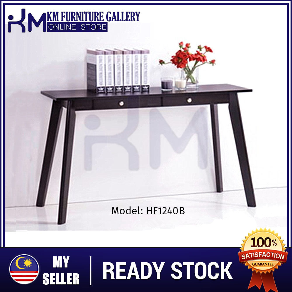 KM Furniture Gallery Console Table With 2 Drawer (Hf1240) Black KMHF1240B
