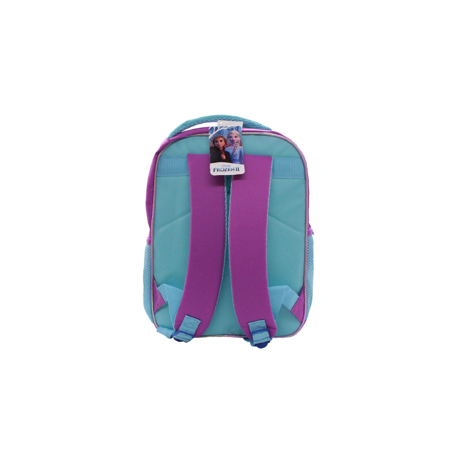 Disney Frozen 2 Princess Elsa & Anna Trust Your Journey With Front Zipper Pouch Kids Girls Pre School Bag (Purple & Turqoise)