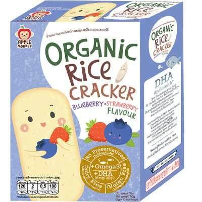Apple Monkey: Organic Rice Cracker 30g - Blueberry & Strawberry