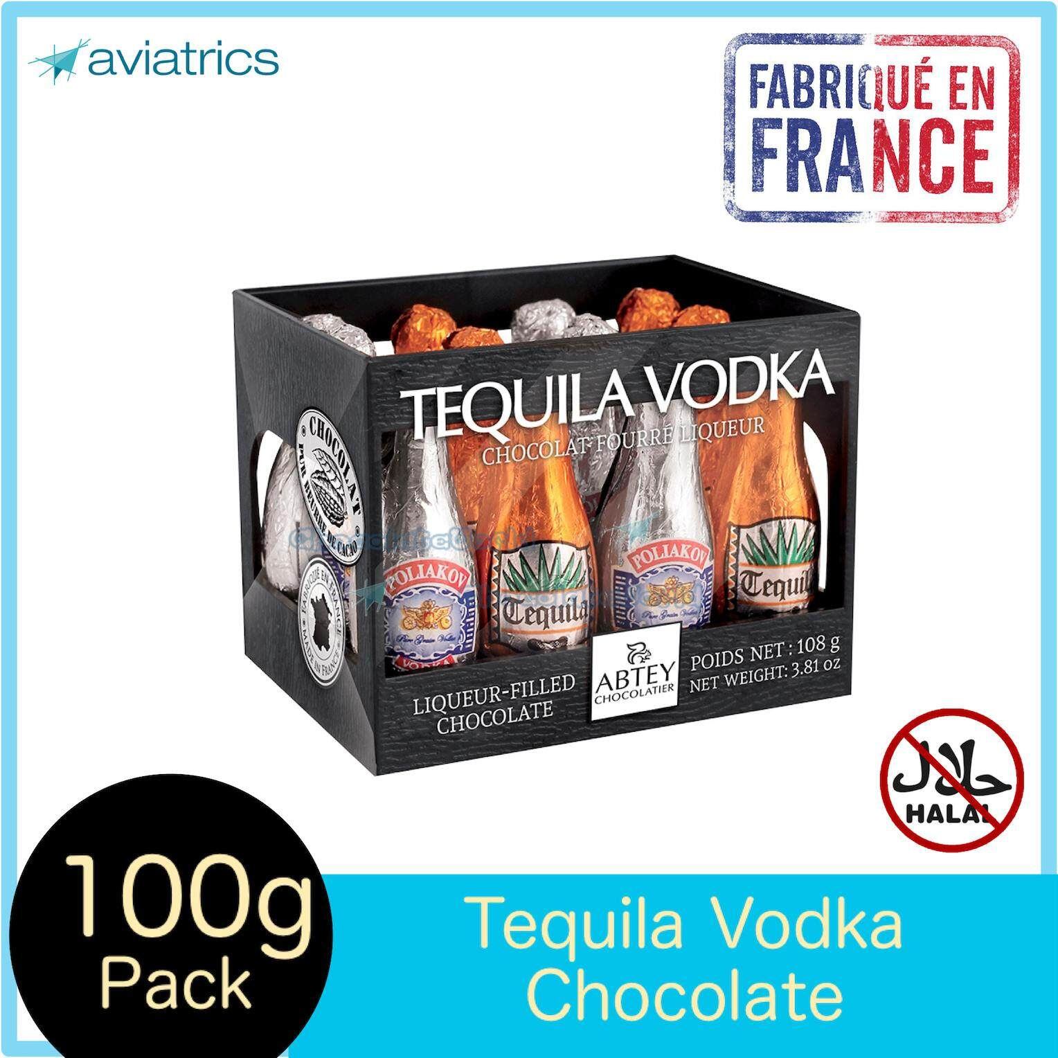 Abtey Tequila Vodke Liqueurs Milk Chocolate 12pcs 108g (Made in France)