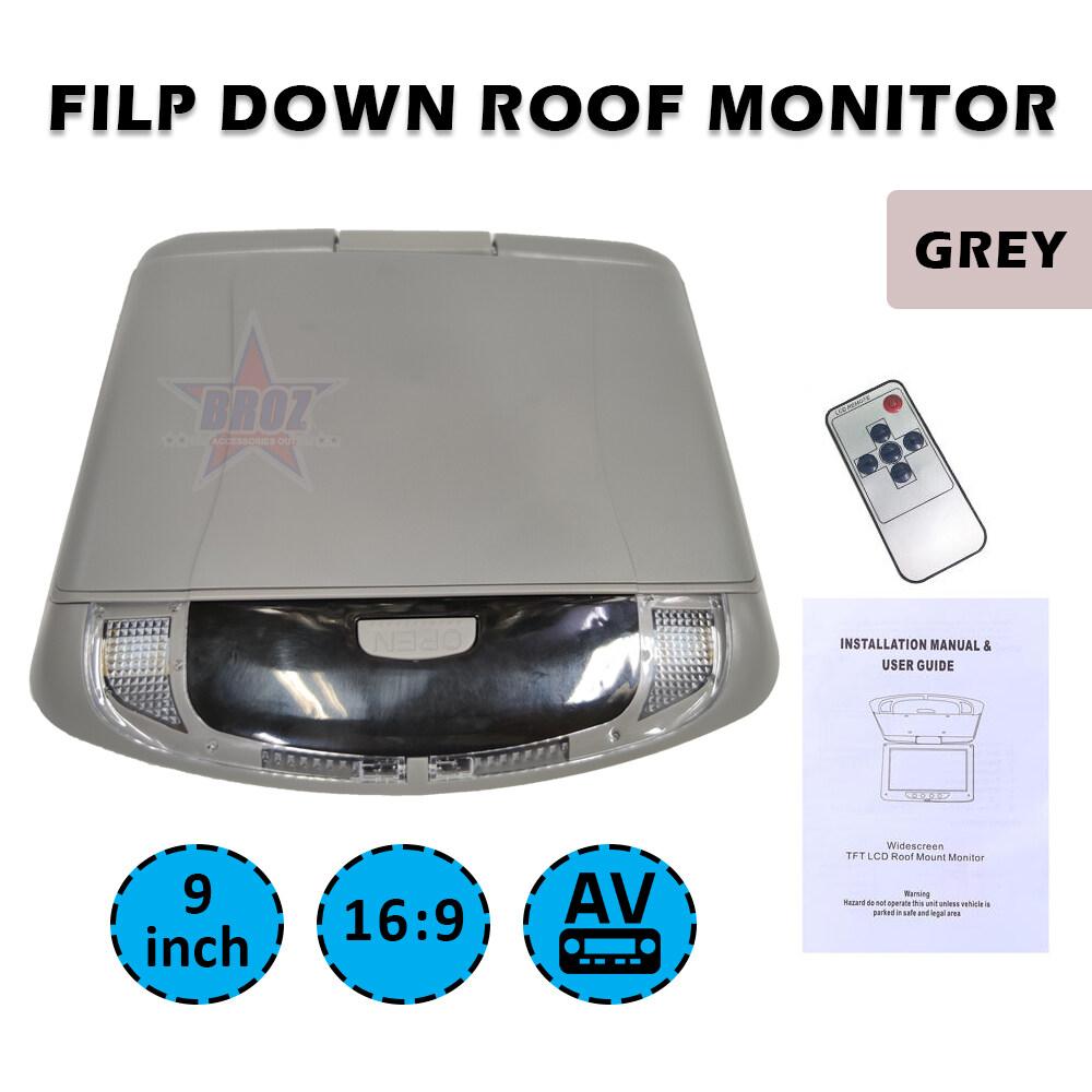 Ultra Thin 9 Inch AV Car Roof Monitor Ceiling Mount Flip Down TFT LCD Monitor Player - 180 degree turn