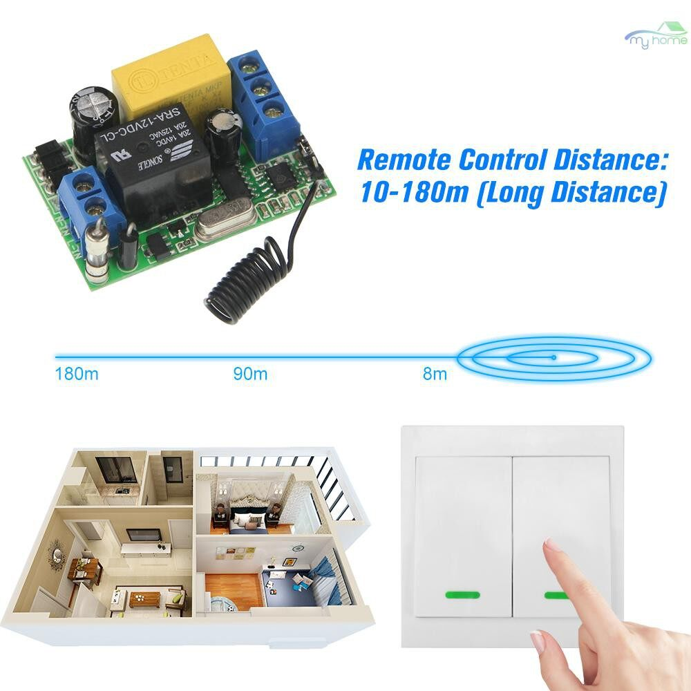 DIY Tools - 2 PIECE(s) WIRELESS Remote Control Switch AC 220V Receiver 433MHz Push Button 2 Gang Wall Light Switch - WHITE