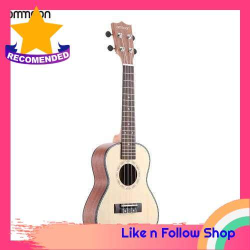 """ammoon 24"""" Spruce Sapele Ukulele Rosewood Fretboard 4 Strings Musical Instrument New Year\'s Day Gift Present (White)"""