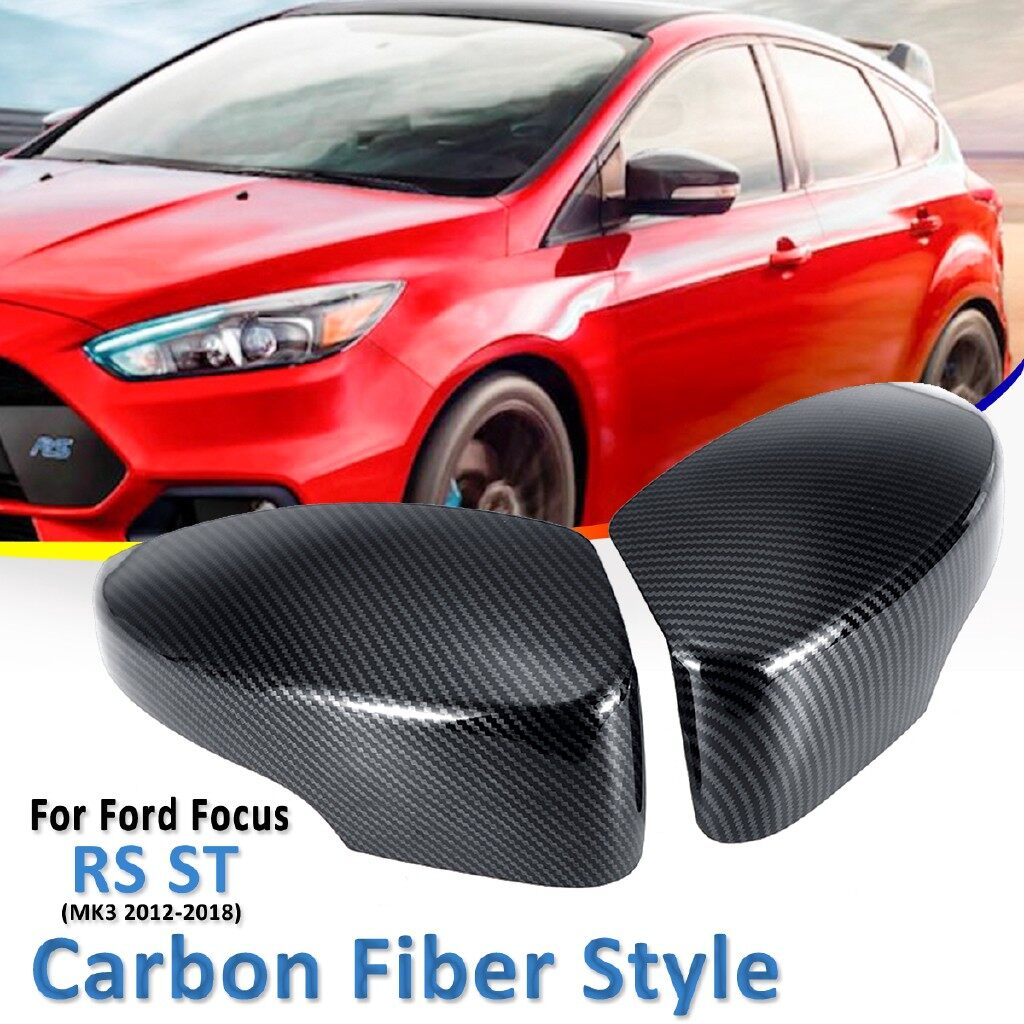 Car Lights - 2pc Carbon Fiber Color Rearview Mirrors Cover for ford Focus RS ST MK3 2012- Replacement Parts