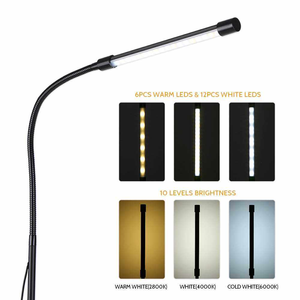 Dimmable USB Floor Light LEDs Standing Lamp 3 Color Temperatures 10 Level Brightness High Lumens Switch Control for Reading Living Room Bedroom (Black)