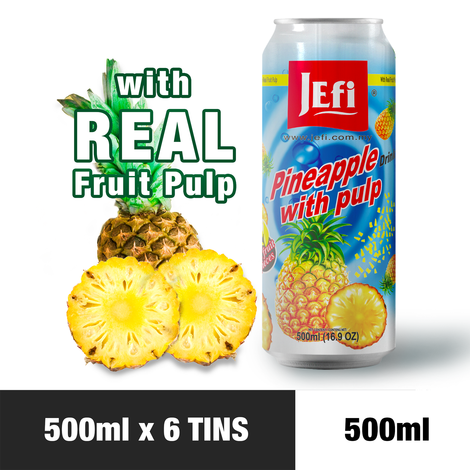 JEFI Pineapple Drink with Real Fruit Pulp (500ml x 6tins)