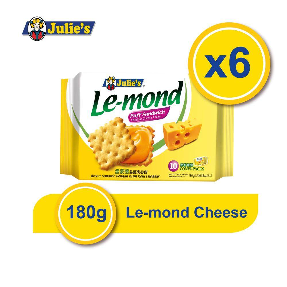 Julie's Le-mond Cheddar Cheese 180g x 6 Packs + Free 5 pack Convi pack Biscuit