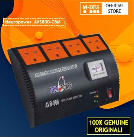 Neuropower AVS800-CBM AVR Auto Voltage Regulator ( AVS800CBM ) Automatic Voltage Stabilizer With 4 British UK Outlets With Surge Protection