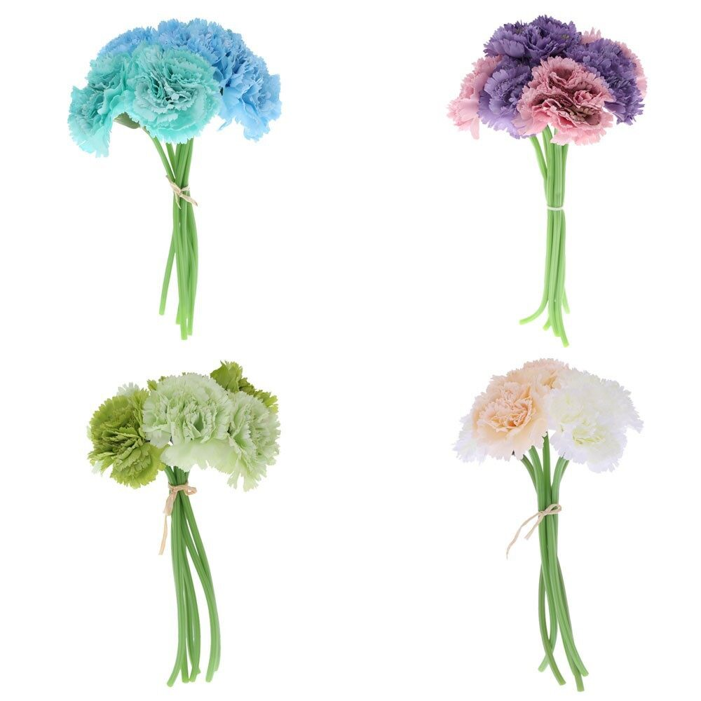 Home Decor - ANSELF 6 Heads Carnation Bouquet - PURPLE / GREEN / CHAMPAGNE / BLUE