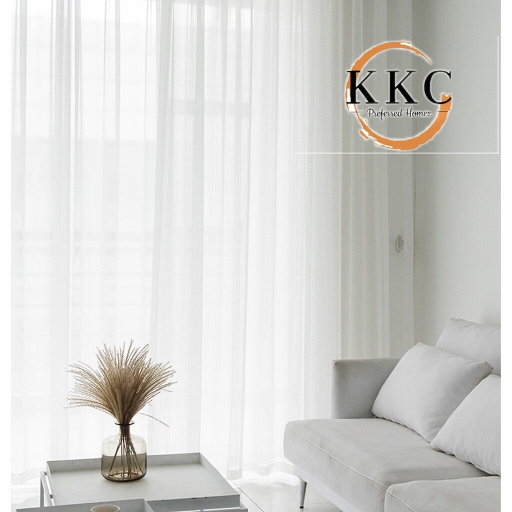 KKC Sheerful Lace Tulle Day Curtain Curtain With Hook or Eyelet Type ~ Ready Stock & Ship from Malaysia