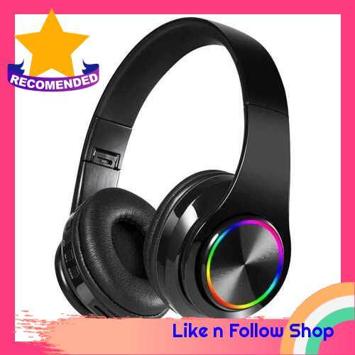 B39 RGB Luminous Wireless BT 5.0 Gaming Headset Stereo Headphone Foldablet Earphone Headphone Mic (Black)