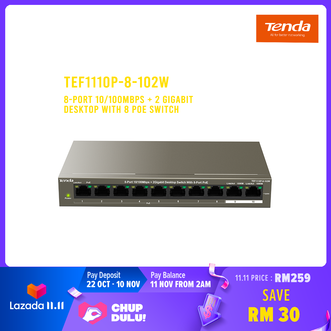 Tenda TEF1110P-8-102W 8-port 10/100Mbps + 2 Gigabit Desktop with 8 PoE Switch