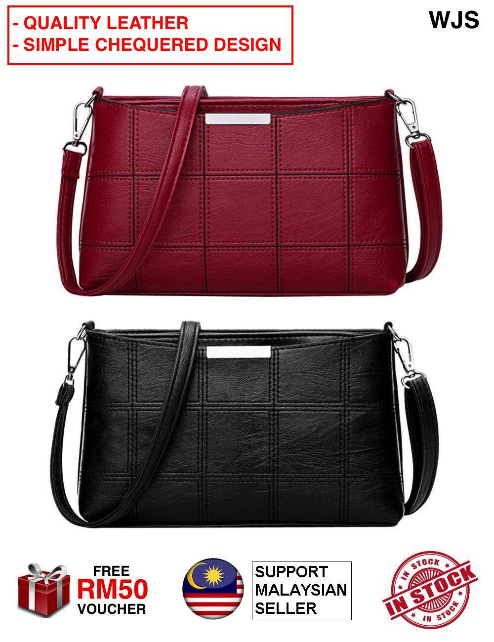 (PREMIUM DESIGN) WJS Premium Quality Simple Chequered Boxed Messenger Bag Fashion Women Shoulder Bag Satchel Crossbody Tote Handbag Hand Bag Beg Tangan Handbeg Purse Messenger Bag BLACK RED [FREE RM 50 VOUCHER]