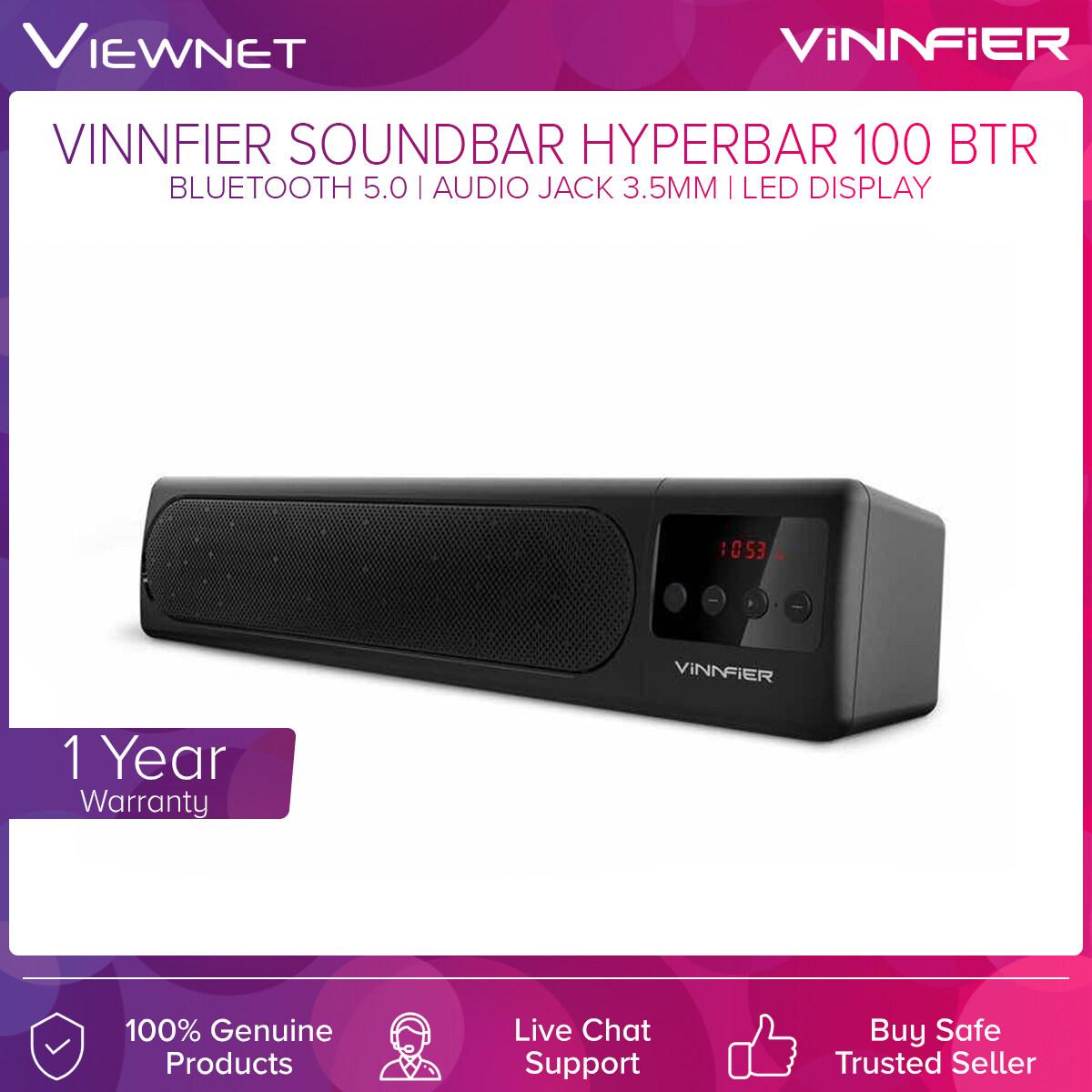 Vinnfier Wireless Soundbar Hyperbar 100 BTR with Bluetooth 5.0, FM Radio, USB and SD Card Slot, LED Display, Audio Jack 3.5MM Support