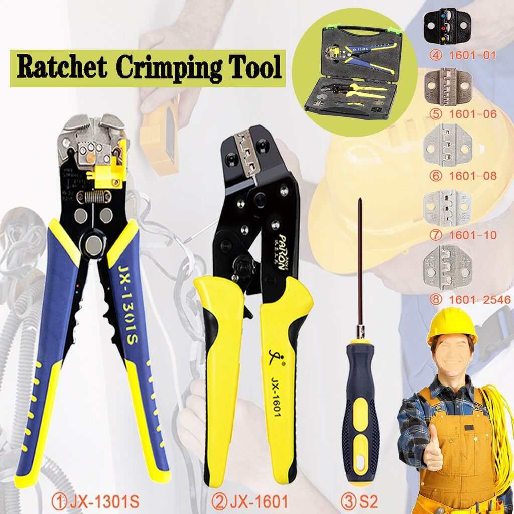 DIY Tools - Paron JX-D5301 Multifunctional Ratchet Crimping Tool Wire Strippers Terminals - Home Improvement