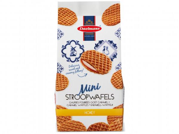DAELMANS MINI HONEY-CARAMEL STROOPWAFELS (200g) ~ The Original Dutch Stroopwafel (caramel waffle, stroop waffle, stroopwaffle, stroop waffle, stroop wafel, stroopwaffle, caramel wafer, wafer biscuit, tea time snack, coffee snack, caramel snack biscuit)