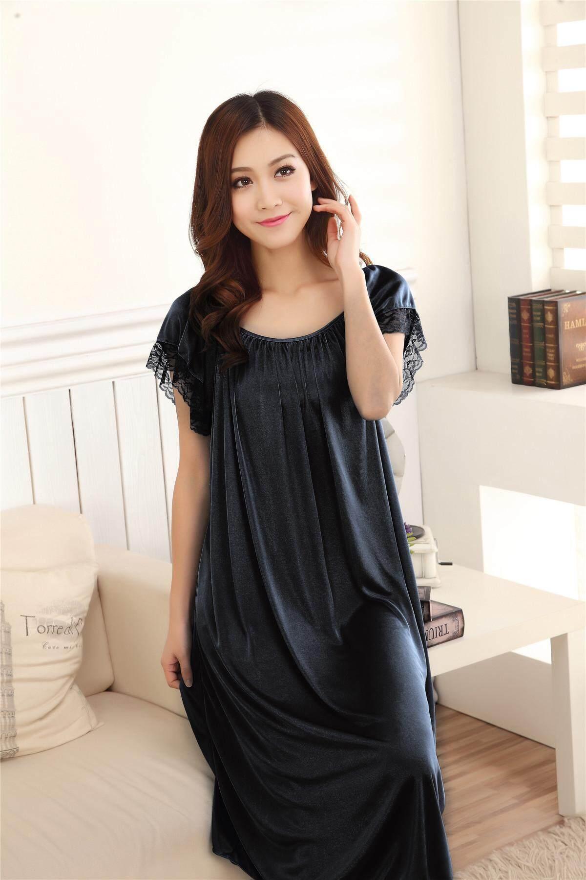 Bolster Store Ladies Women Sleepwear Sexy Lingerie Basic Plain Design Pajamas Long Skirt Silk Comfortable Wear #402